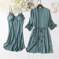 Pajamas / housewear set female Other / other M,L,XL,XXL Polyester (polyester) Long sleeves sexy pajamas summer Thin money V-neck Solid color trousers youth rubber string More than 95% silk lace F36831 Middle-skirt