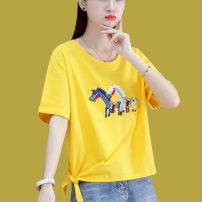 Women's large Summer 2021 White purple yellow M L XL T-shirt singleton  commute Straight cylinder Short sleeve Korean version Crew neck routine routine 8A051TX45 First reading 18-24 years old 91% (inclusive) - 95% (inclusive) Cotton 93.8% polyurethane elastic fiber (spandex) 6.2%
