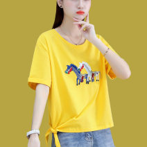 Women's large Summer 2021 White purple yellow M L XL T-shirt singleton  commute Straight cylinder Short sleeve Korean version Crew neck routine routine 8A051TX45 First reading 18-24 years old 91% (inclusive) - 95% (inclusive) Cotton 93.8% polyurethane elastic fiber (spandex) 6.2%