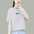 Women's large Summer 2021 White stripe Orange Stripe Black Stripe M L XL T-shirt singleton  commute Straight cylinder Short sleeve Korean version Crew neck routine 16169TX49 First reading 18-24 years old 91% (inclusive) - 95% (inclusive) Cotton 94.6% polyurethane elastic fiber (spandex) 5.4%