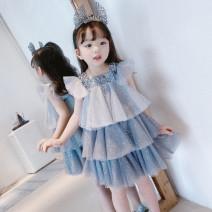 Dress Skirt with model hairband, blue grey female Other / other 100cm,110cm,120cm,130cm,140cm,150cm Polyester 100% summer Korean version Skirt / vest Dot polyester fiber Cake skirt Class B 2, 3, 4, 5, 6, 7, 8, 9, 10, 11