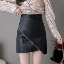 skirt Autumn 2020 S M L XL Black apricot Brown Short skirt Versatile High waist A-line skirt Solid color Type A BSQ-BSQ480 More than 95% other Miyakaman other zipper PU Pure e-commerce (online only)
