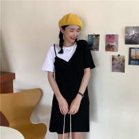 Dress Summer 2020 black M L XL Mid length dress singleton  Short sleeve commute Crew neck middle-waisted other Socket other routine Others 18-24 years old Type A Beautiful flower Korean version Splicing 2020QP2044 More than 95% cotton Cotton 100% Pure e-commerce (online only)
