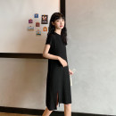 Dress Summer 2020 Grey black M L XL Mid length dress singleton  Short sleeve commute Crew neck Loose waist Solid color Socket One pace skirt routine Others 18-24 years old Type H Beautiful flower Korean version 51% (inclusive) - 70% (inclusive) other polyester fiber Pure e-commerce (online only)