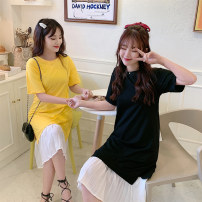 Dress Summer 2020 Black yellow M L XL Mid length dress singleton  Short sleeve commute Crew neck Loose waist Solid color Socket A-line skirt routine Others 18-24 years old Type A Beautiful flower Retro Splicing 2020QP607 51% (inclusive) - 70% (inclusive) polyester fiber Pure e-commerce (online only)