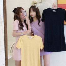 Dress Summer 2020 Purple Yellow Black Pink M L XL Mid length dress singleton  Short sleeve commute Crew neck High waist Solid color A-line skirt routine Others 18-24 years old Type H Beautiful flower Korean version 2020QP2029 More than 95% cotton Cotton 100% Pure e-commerce (online only)