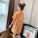T-shirt Orange haze blue M L XL Summer 2020 Short sleeve Crew neck easy Medium length routine street polyester fiber 51% (inclusive) - 70% (inclusive) 18-24 years old youth character Beautiful flower printing Polyester 65% Cotton 30% polyurethane elastic fiber (spandex) 5% Rock and roll