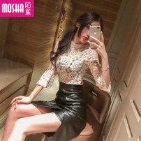 Dress Autumn of 2019 Picture color S M Short skirt Two piece set Long sleeves commute Crew neck High waist Solid color Socket One pace skirt other Others 25-29 years old Type A Moby shark Korean version Hook cut asymmetric zipper lace MS30666#-1 More than 95% Lace polyester fiber