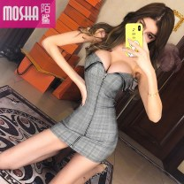 Dress Spring of 2019 Picture color S M L Short skirt singleton  Sleeveless commute V-neck High waist Solid color zipper Pencil skirt other Breast wrapping 18-24 years old Type H Moby shark lady Open back stitching MS50172# More than 95% other polyester fiber Other polyester 95% 5%