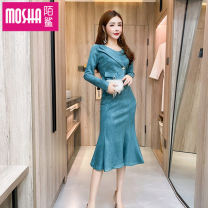 Dress Autumn 2020 Black green S M L XL Mid length dress singleton  Long sleeves commute Crew neck High waist Solid color Socket Big swing routine Others 18-24 years old Type H Moby shark Korean version Pocket button More than 95% brocade polyester fiber Other polyester 95% 5%