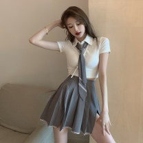 Dress Summer 2021 T-shirt + tie pleated skirt suit S M Short skirt Two piece set Short sleeve commute Polo collar High waist Solid color Socket Pleated skirt routine Others 18-24 years old Type A Moby shark Korean version fold XYZ13043# More than 95% brocade polyester fiber Other polyester 95% 5%