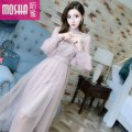Dress Summer of 2018 Lotus Blue Average size Mid length dress singleton  Long sleeves commute Crew neck High waist Solid color zipper Irregular skirt other Others 18-24 years old Type H Moby shark lady Splicing mesh MS56021# More than 95% other polyester fiber Other polyester 95% 5%