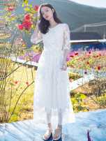 Dress Spring of 2019 White dfl19a1701 S M longuette singleton  elbow sleeve commute Crew neck High waist Solid color Socket Princess Dress 25-29 years old Type A Deelfolian / dove Retro DFL19A1701 More than 95% Lace polyester fiber Polyester 97% polyurethane elastic fiber (spandex) 3%