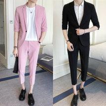 man 's suit Fashion City Grey suit Zunmo routine 3XL XZ0818 Polyethylene terephthalate (PET) 95% polyurethane elastic fiber (spandex) 5% Summer of 2018