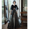 Dress / evening wear Weddings, adulthood parties, company annual meetings, daily appointments XS S M L XL XXL XXXL ULH191120 Korean version longuette middle-waisted Winter of 2019 Fall to the ground Deep collar V Bandage 18-25 years old ULH191120 elbow sleeve Solid color ULH Flying sleeve Other 100%