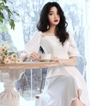 Dress / evening wear Weddings, adulthood parties, company annual meetings, daily appointments XS S M L XL XXL XXXL White Medium Length Simplicity Medium length middle-waisted Summer 2021 A-line skirt zipper 18-25 years old ULH8227 elbow sleeve Solid color ULH routine Other 100%