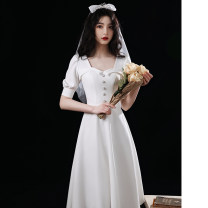 Dress / evening wear Weddings, adulthood parties, company annual meetings, daily appointments XS S M L XL XXL XXXL White Medium Length Korean version Medium length middle-waisted Summer 2021 Self cultivation Deep collar V zipper 18-25 years old ULH8225 elbow sleeve Solid color ULH routine Other 100%