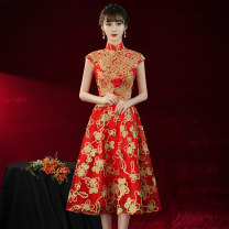 Dress / evening wear wedding XS S M L XL XXL XXXL Medium length in bright red Retro Medium length middle-waisted Summer 2021 Self cultivation stand collar zipper 18-25 years old ULH8196 Short sleeve Embroidery Solid color ULH routine Other 100% Pure e-commerce (online only) machine embroidery