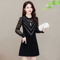 Women's large Spring 2021 Black moon sleeve regular black flower sleeve regular black moon sleeve Plush black flower sleeve Plush L XL 2XL 3XL 4XL 5XL Dress singleton  commute Self cultivation moderate Conjoined Long sleeves other Korean version Crew neck Medium length other Three dimensional cutting