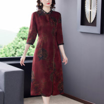 Dress Spring 2021 claret L XL 2XL 3XL 4XL Mid length dress singleton  Long sleeves commute stand collar High waist Decor Socket A-line skirt routine Others 40-49 years old Type A Bai Meiwei Retro BMW98551223 More than 95% other Other 100% Pure e-commerce (online only)
