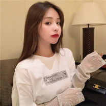 Lace / Chiffon Spring 2020 White black S M L Long sleeves commute Socket Fake two pieces easy Regular Crew neck other 18-24 years old Yingxuelan GVDE57810 Diamond inlay Retro Other 100% Pure e-commerce (online only)