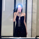 Dress Summer 2020 black S,M,L Mid length dress singleton  Sleeveless commute One word collar High waist Solid color zipper A-line skirt other camisole 18-24 years old Type X Korean version Inlaid diamond, chain, splicing, three-dimensional decoration, zipper 81% (inclusive) - 90% (inclusive) other