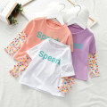 T-shirt White, violet, orange pink, white cow, black cow, purple mesh, orange pink mesh, pink soda, white soda Other / other 90cm,100cm,110cm,120cm,130cm female summer Long sleeves Crew neck princess No model nothing cotton other Cotton 95% other 5% Two pieces of x8823 Class B Sweat absorption