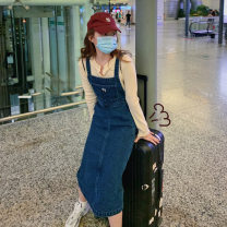 Jeans Autumn 2020 Denim blue XS S M L Ninth pants High waist rompers 18-24 years old Love of Shu Mei 96% and above Other 100%