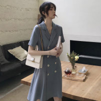 Dress Summer of 2019 Haze blue suit collar dress black suit collar dress S M L XL Mid length dress singleton  Short sleeve commute tailored collar High waist Solid color double-breasted A-line skirt routine Others 18-24 years old Type A Love of Shu Mei Korean version Stitching buttons More than 95%
