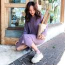 T-shirt Purple apricot Pink S M L XL Autumn 2020 Long sleeves Hood Straight cylinder Medium length routine commute other 96% and above 25-29 years old Retro Solid color Love of Shu Mei OCYY77510 Other 100% Pure e-commerce (online only)