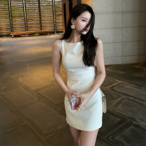 Dress Spring 2021 Off white rose orange XS S M L XL Short skirt singleton  Sleeveless commute Crew neck High waist Solid color Socket A-line skirt camisole 18-24 years old Quiet and elegant Ol style More than 95% other Other 100% Pure e-commerce (online only)