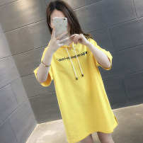 T-shirt White yellow green blue black pink S M L XL Summer of 2019 Short sleeve Hood easy Regular routine commute other 96% and above Korean version letter Hold Teddy HB00017TX0092772557 Other 100% Pure e-commerce (online only)