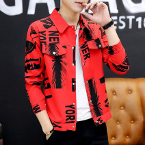 shirt Youth fashion Type Shang set 165/M 170/L 175/XL 180/XXL Red white yellow routine Pointed collar (regular) Long sleeves Self cultivation Other leisure autumn teenagers Polyester 87.5% cotton 12.5% tide 2019 Letters / numbers / characters Autumn of 2019 printing Exclusive payment of tmall