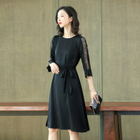 Dress Summer 2020 Black red M L XL XXL Mid length dress singleton  three quarter sleeve commute Crew neck middle-waisted Solid color Socket A-line skirt routine Others 35-39 years old Yisou lady Lace up stitching YSYZ2025 91% (inclusive) - 95% (inclusive) silk