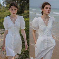 Dress Summer 2020 Pearl white short, pearl white long, pearl white short | pre sale, pearl white long | pre sale XS,S,M longuette singleton  Short sleeve commute V-neck High waist Solid color Socket puff sleeve Others 25-29 years old Type A Dailyart Retro 02L548 More than 95% cotton