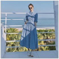 Dress Summer 2021 wathet S,M,L,XL Mid length dress singleton  Long sleeves Polo collar High waist Solid color Single breasted A-line skirt puff sleeve 25-29 years old Type H Other / other Splicing More than 95% Denim cotton