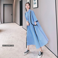 Dress Summer 2021 Blue stripe S,M,L,XL longuette singleton  three quarter sleeve Sweet Polo collar middle-waisted stripe Socket Big swing routine 25-29 years old Type A Other / other Pocket, lace up