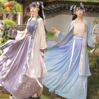 Hanfu 91% (inclusive) - 95% (inclusive) Summer 2020 Purple three piece suit (mixed code remarks), blue three piece suit (mixed code remarks), purple pleated skirt, blue pleated skirt S spot, m spot, l spot polyester fiber