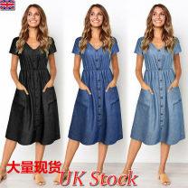 Dress Summer of 2019 Light blue, dark blue, black S,M,L,XL Miniskirt Short sleeve V-neck High waist Solid color Single breasted Other / other