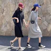 Dress Spring 2021 Grey black M L XL XXL longuette singleton  Short sleeve commute Polo collar Loose waist Solid color Socket A-line skirt routine 18-24 years old WONJOY Button More than 95% cotton Kapok 100%