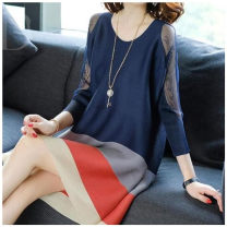 Home suit Average size Black, Navy, green Other / other Nine point sleeve Crew neck ultrathin Socket Solid color cotton