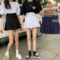 skirt Summer 2020 S M L XL Gray white black blue pink Short skirt commute High waist Pleated skirt Solid color Type A 18-24 years old More than 95% Mengyingchun polyester fiber Korean version Polyester 100% Pure e-commerce (online only)