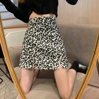 skirt Autumn 2020 S,M,L,XL Black, coffee Short skirt commute High waist A-line skirt Leopard Print Type A 18-24 years old 71% (inclusive) - 80% (inclusive) other Other / other polyester fiber printing Korean version