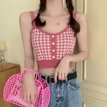 Vest sling Summer 2021 Cherry red, honey yellow, black and white, girl powder Average size singleton  have cash less than that is registered in the accounts Self cultivation commute camisole lattice 18-24 years old Other / other backless