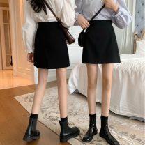 skirt Autumn 2020 S,M,L Split skirt, regular skirt Short skirt commute High waist A-line skirt Solid color Type A 18-24 years old 107X 71% (inclusive) - 80% (inclusive) Other / other polyester fiber Korean version