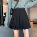 skirt Spring 2021 S,M,L Black, gray blue, coffee, blue, coffee, black Short skirt commute High waist Pleated skirt Solid color Type A 18-24 years old 91% (inclusive) - 95% (inclusive) Other / other polyester fiber fold Korean version