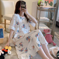 Nightdress AI xueweipin 160(M),165(L),170(XL),175(XXL) Sweet Short sleeve pajamas Middle-skirt summer Cartoon animation youth Crew neck cotton printing More than 95% pure cotton 200g and below