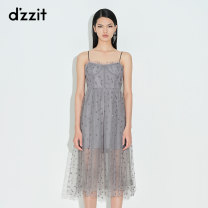 Dress Summer 2020 Light grey XS S M Mid length dress singleton  Sleeveless commute other zipper A-line skirt 25-29 years old Type A d'zzit lady Nail bead More than 95% other polyester fiber Polyester 100% Same model in shopping mall (sold online and offline)