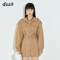 Dress Spring 2021 Deep Khaki XS S M Short skirt Long sleeves commute other High waist Solid color Single breasted A-line skirt routine 25-29 years old Type A d'zzit Retro 3D1O6221N 51% (inclusive) - 70% (inclusive) cotton Cotton 51% polyester 45% polyurethane elastic fiber (spandex) 4%