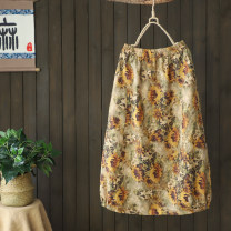 skirt Summer 2020 Average size Yellow, green, khaki Mid length dress Retro Natural waist A-line skirt Decor Type A 51% (inclusive) - 70% (inclusive) Other / other hemp Splicing